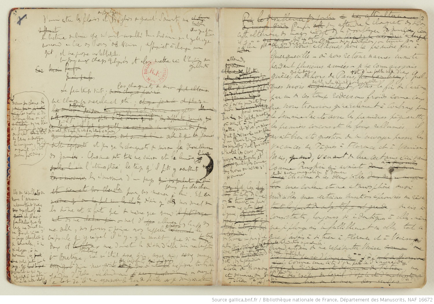 A la recherche du temps perdu, manuscrit de Marcel Proust, collection Bibliothèque nationale de France, département des manuscrits